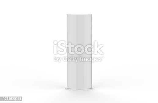 869974364 istock photo Curved PVC totem poster light advertising display stand, mock up template on isolated white background, 3d illustration 1051623256