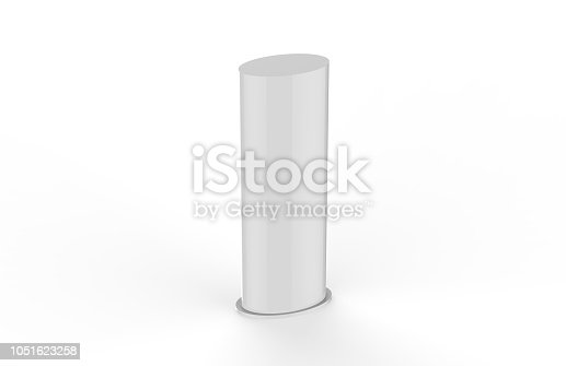 869974364 istock photo Curved PVC totem poster light advertising display stand, mock up template on isolated white background, 3d illustration 1051623258