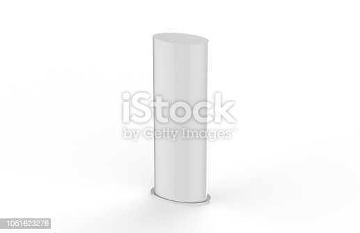 869974364 istock photo Curved PVC totem poster light advertising display stand, mock up template on isolated white background, 3d illustration 1051623276