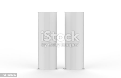 869974364 istock photo Curved PVC totem poster light advertising display stand, mock up template on isolated white background, 3d illustration 1051623362