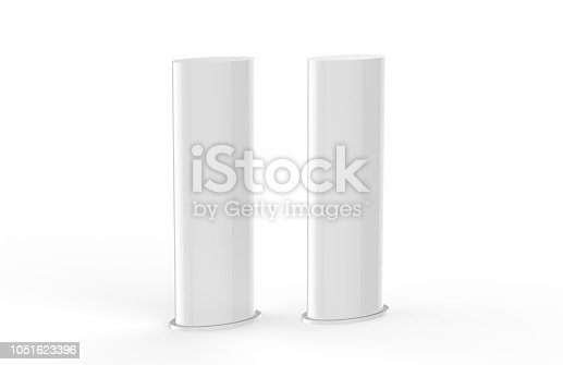 869974364 istock photo Curved PVC totem poster light advertising display stand, mock up template on isolated white background, 3d illustration 1051623396