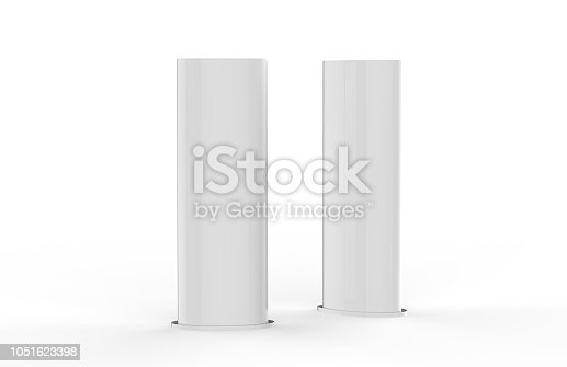 869974364 istock photo Curved PVC totem poster light advertising display stand, mock up template on isolated white background, 3d illustration 1051623398
