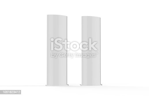 869974364 istock photo Curved PVC totem poster light advertising display stand, mock up template on isolated white background, 3d illustration 1051623412