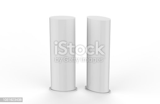 869974364 istock photo Curved PVC totem poster light advertising display stand, mock up template on isolated white background, 3d illustration 1051623438