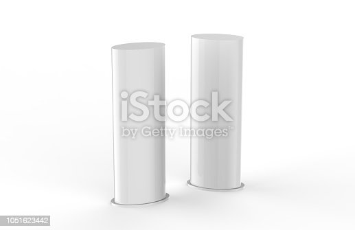 869974364 istock photo Curved PVC totem poster light advertising display stand, mock up template on isolated white background, 3d illustration 1051623442