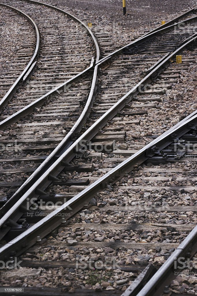 Curved Railroad Tracks Merging or Splitting Direction for Travel Choices royalty-free stock photo
