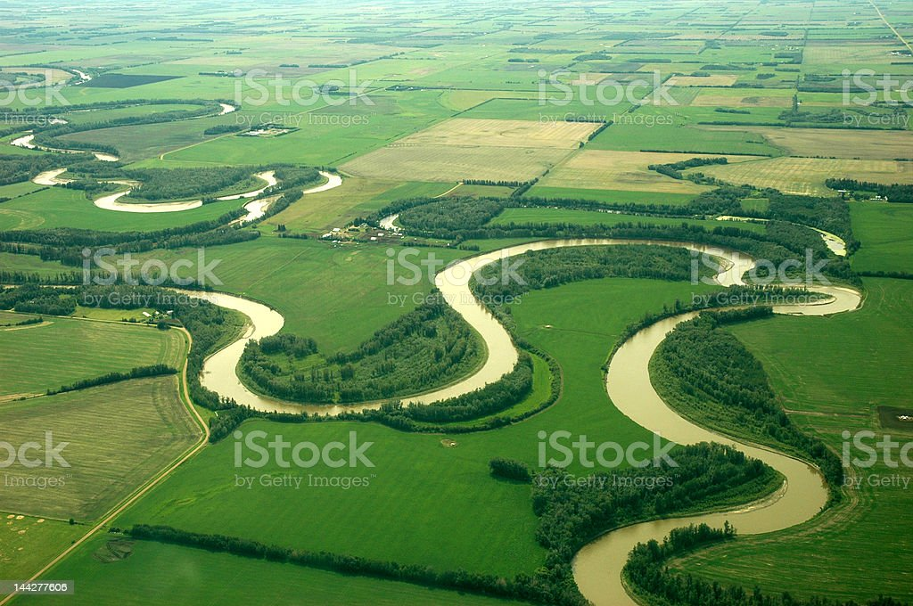 Curved river from the top stock photo