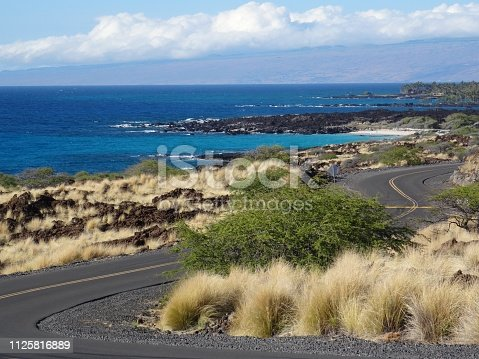 View on the curved road that leads to the Manini'owali beach in Big Island, Hawaii