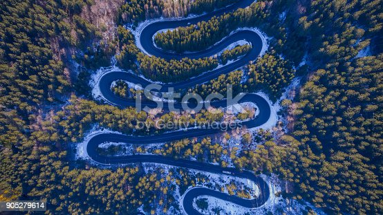 istock Curved road trough the forest 905279614
