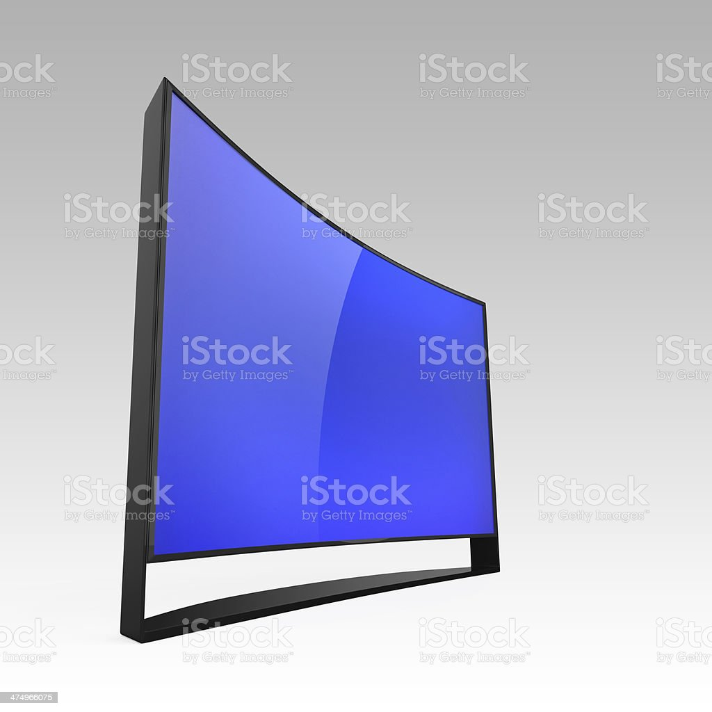 4K curved screen television on gradient background. Clipping path...