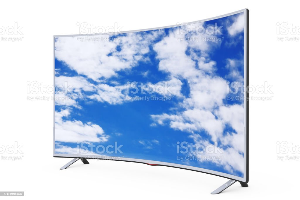 Curved Smart Lcd Plasma Tv Or Monitor With Sky View 3d Rendering Stock Photo Download Image Now Istock