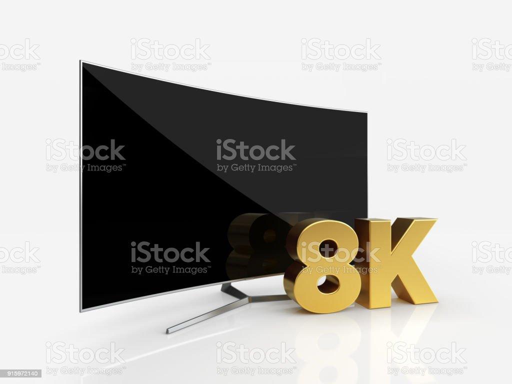 UHD gebogen Smart TV mit 8K Symbol auf weißen reflektierenden Hintergrund – Foto