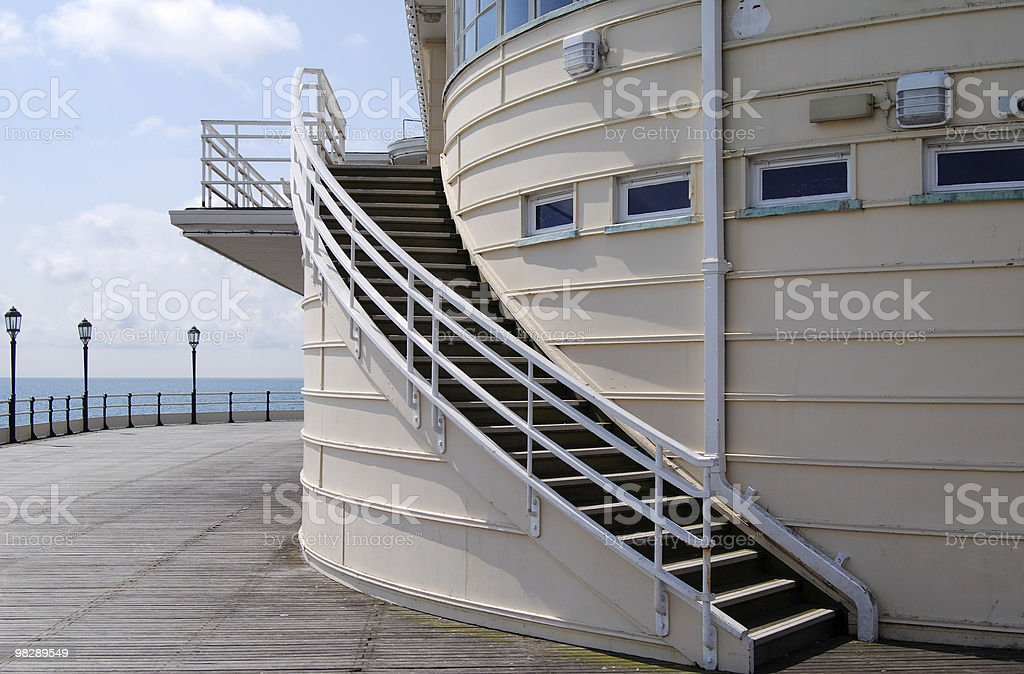 Curved staircase on pier at Worthing. West Sussex. England royalty-free stock photo