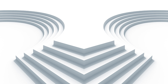 Abstract architecture background with white curved stairs. 3d render illustration