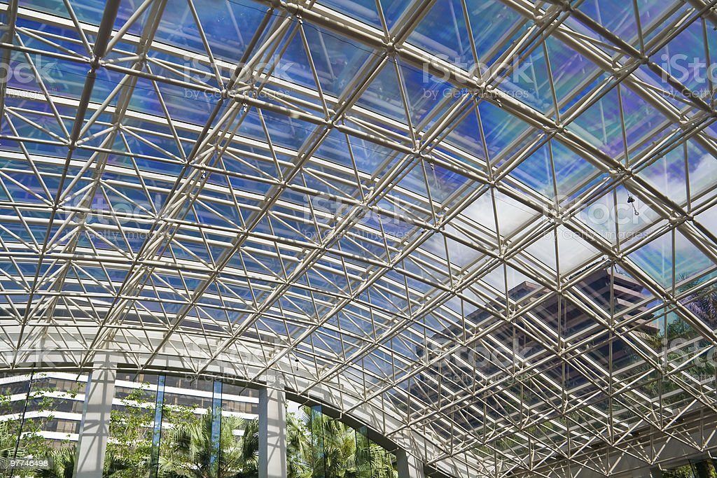 Curved Steel And Glass Roof Of A Shopping Mall Royalty Free Stock Photo