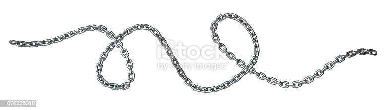 Curved steel chain 3D rendering illustration isolated on white background