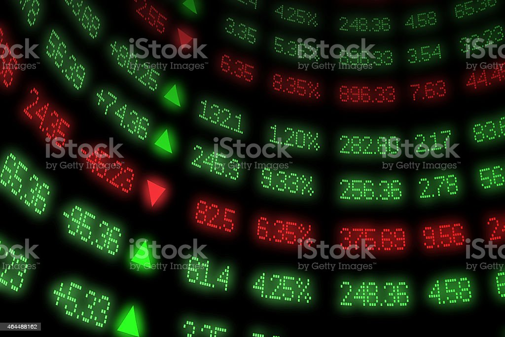 Curved Stock Exchange Ticker Numbers and Arrows on Black stock photo