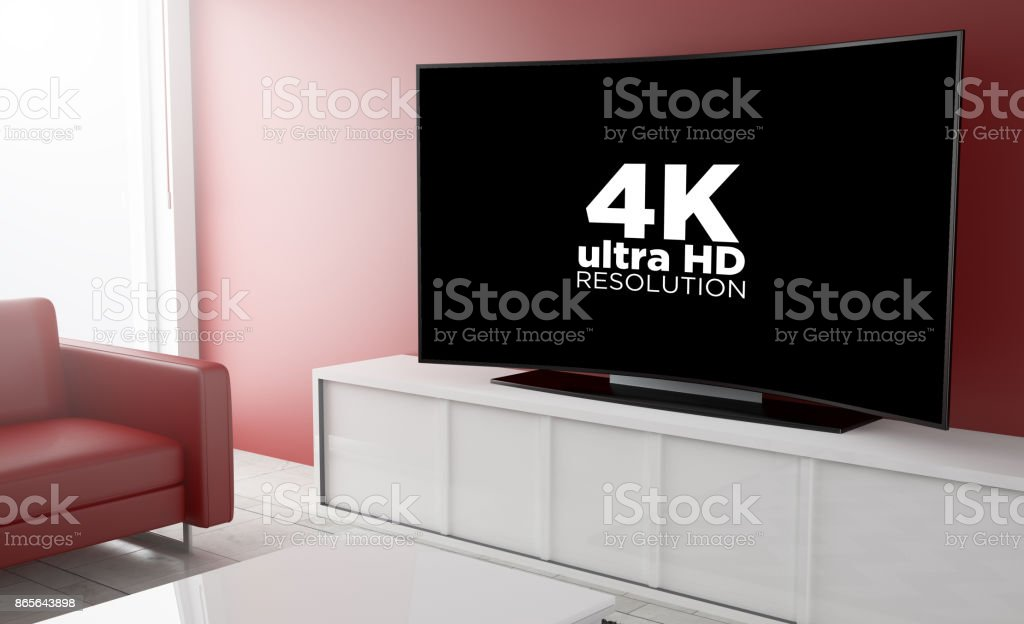curved television pay per view stock photo