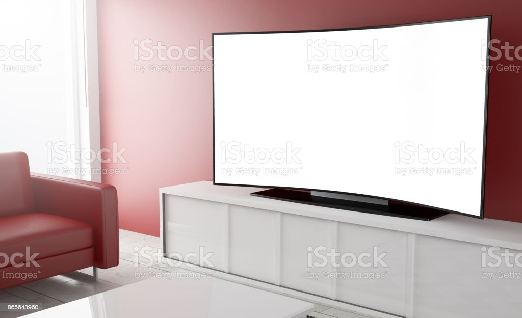 curved television white screen stock photo
