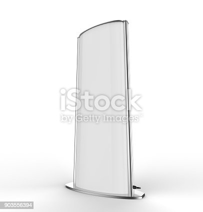 869974364 istock photo Curved totem poster light advertising display stand. 3d render illustration. 903556394