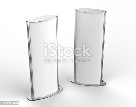 istock Curved totem poster light advertising display stand. 3d render illustration. 903556464