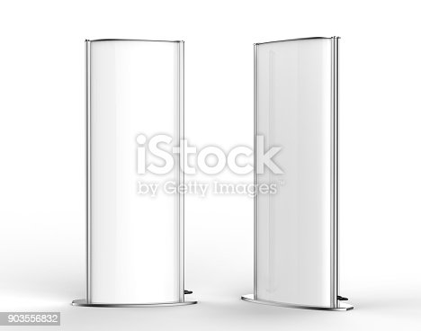869974364 istock photo Curved totem poster light advertising display stand. 3d render illustration. 903556832