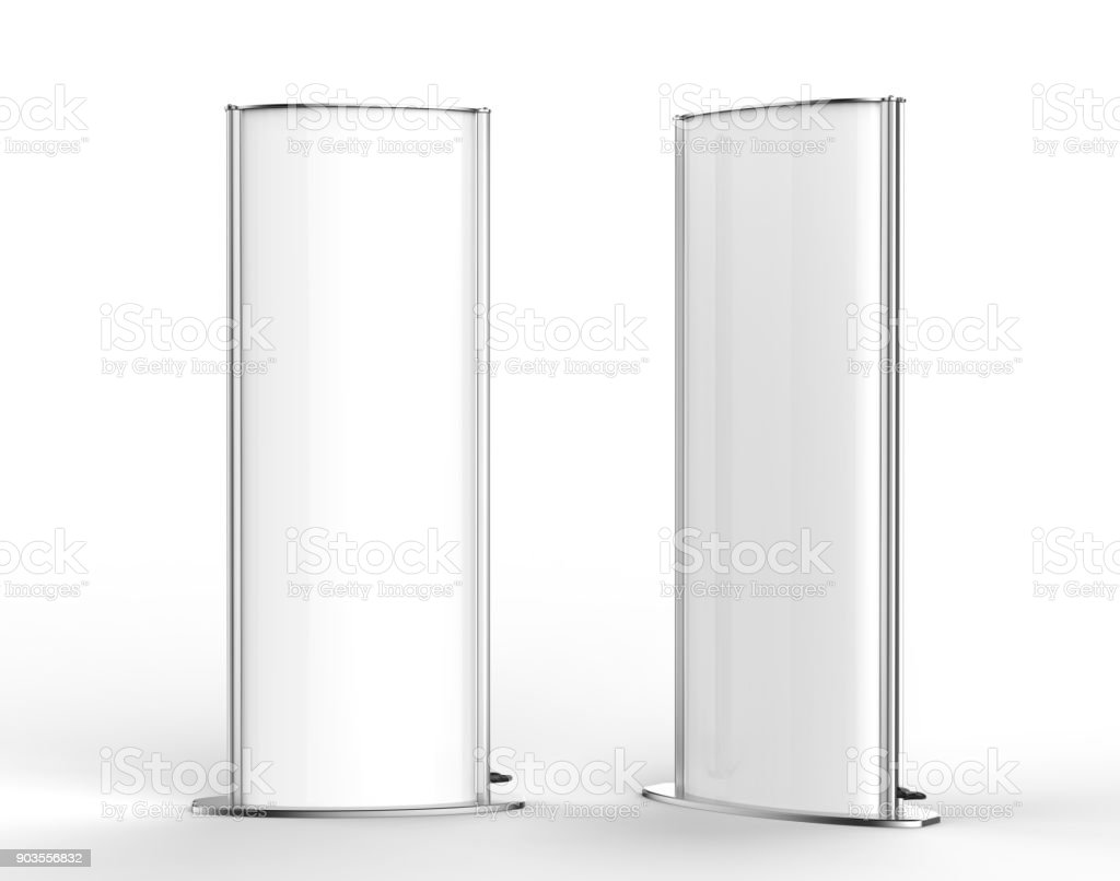 Curved totem poster light advertising display stand. 3d render illustration. stock photo