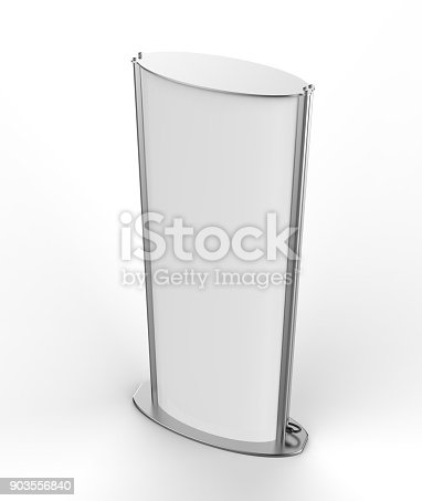 istock Curved totem poster light advertising display stand. 3d render illustration. 903556840