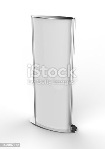 istock Curved totem poster light advertising display stand. 3d render illustration. 903557148