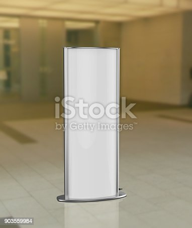 869974364 istock photo Curved totem poster light advertising display stand. 3d render illustration. 903559984
