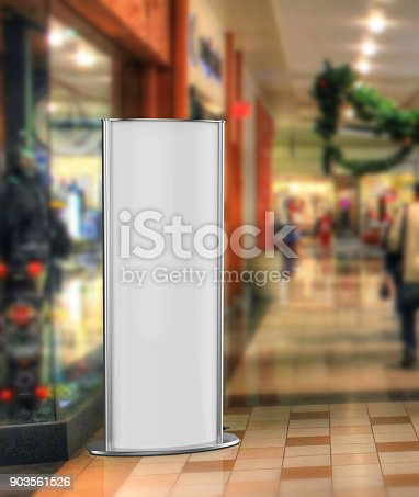 869974364 istock photo Curved totem poster light advertising display stand. 3d render illustration. 903561526