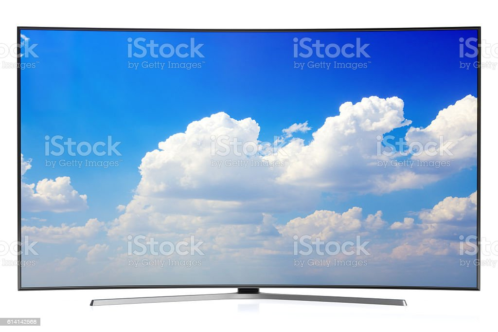 Curved TV Isolated On White stock photo