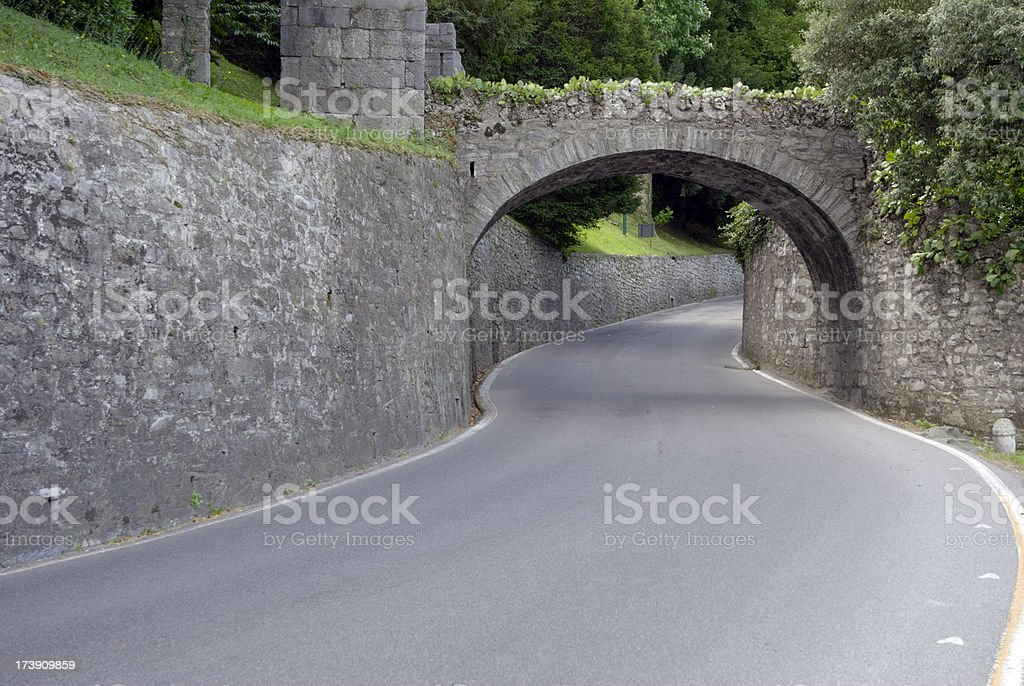 Curved, winding road. stock photo