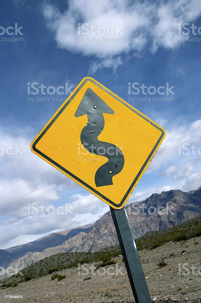Curves Ahead - Winding Road Sign royalty-free stock photo