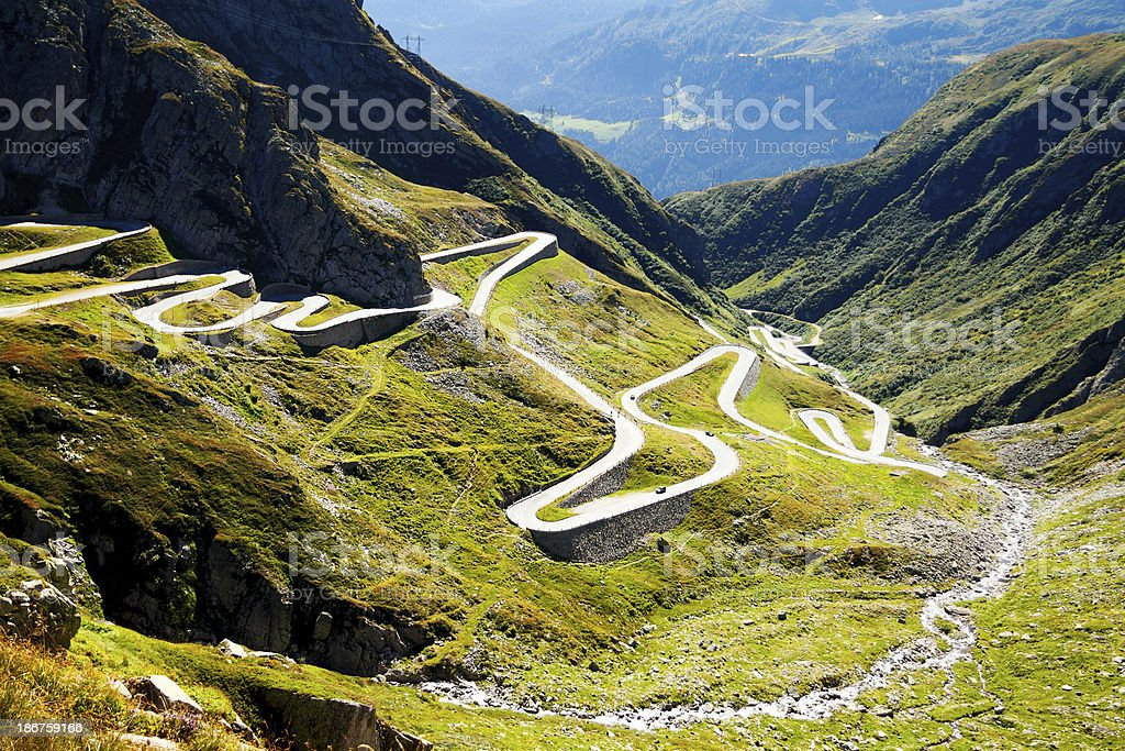 Curves of pass St. Gotthard stock photo