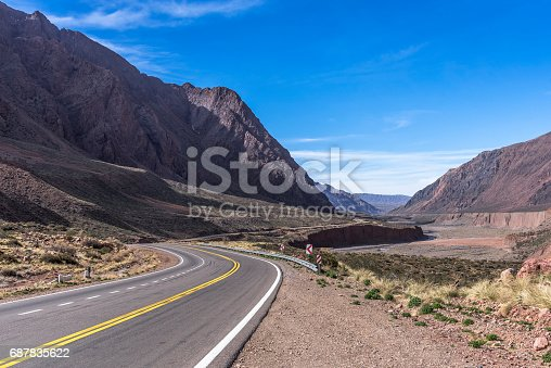 Curves of the beautiful National Route 7 in Mendoza, Argentina, which leads to Chile, passing through Monte Aconcágua.