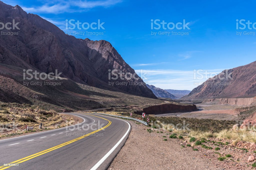 Curves of the beautiful National Route 7 in Mendoza, Argentina stock photo