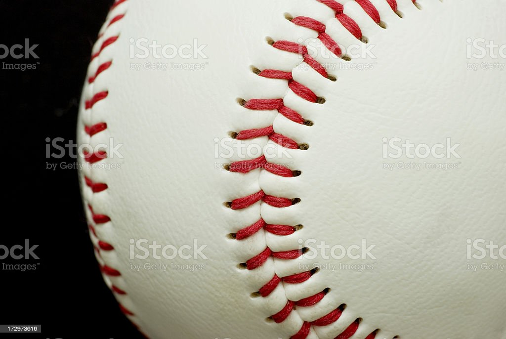 Curves (Baseball detail) on Black royalty-free stock photo