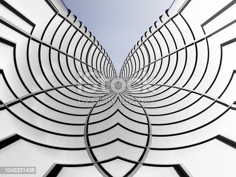 istock Curvilinear structure of metal and glass resembling flower, butterfly or spiderweb. Abstract grid background on the subject of modern architecture, interior, industry or technology. Architectural fiction. 1045331438