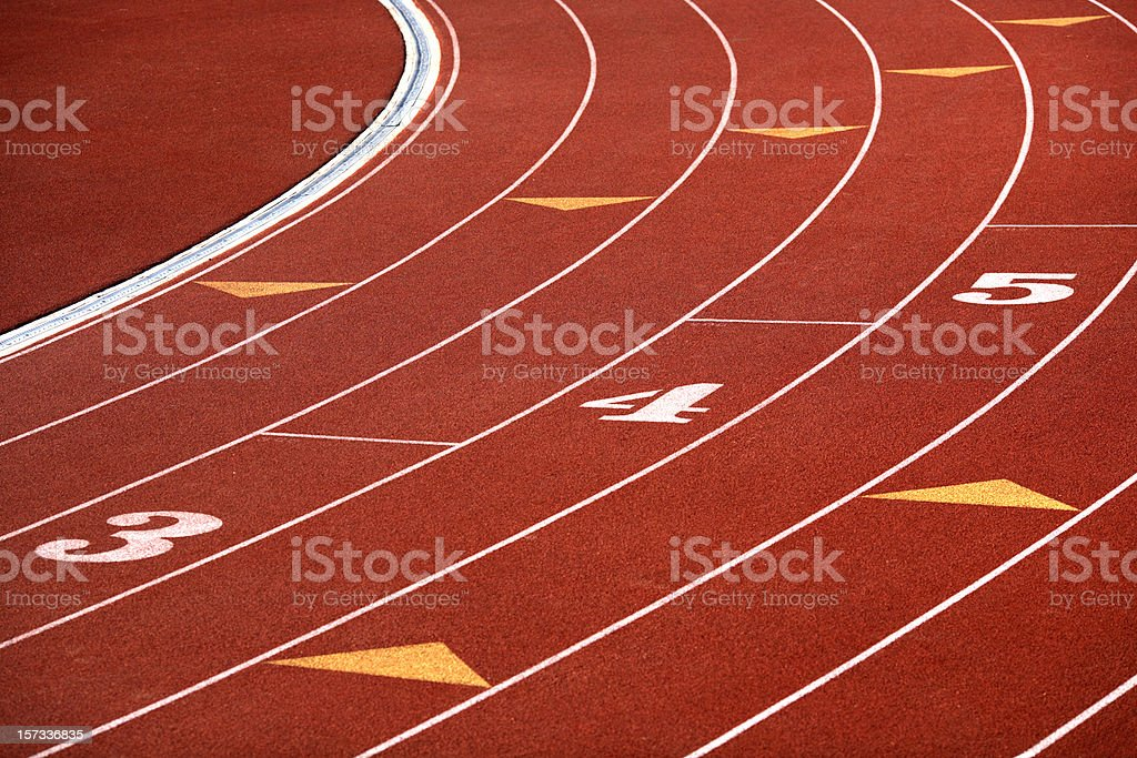 Curving lanes of track stock photo