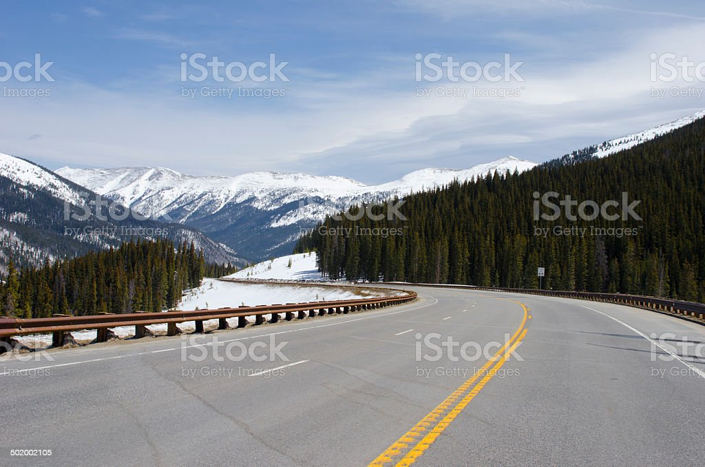 Curving Mountain Road from Fremont Pass stock photo