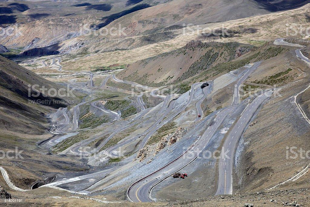 Curving road in Tibet stock photo