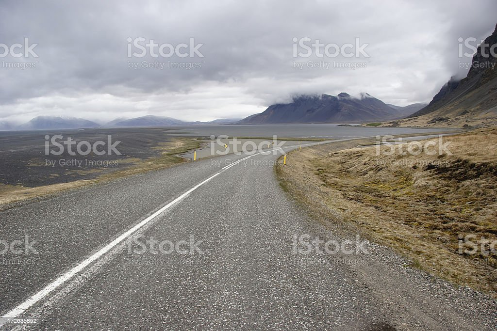 Curving Road on Overcast Day royalty-free stock photo