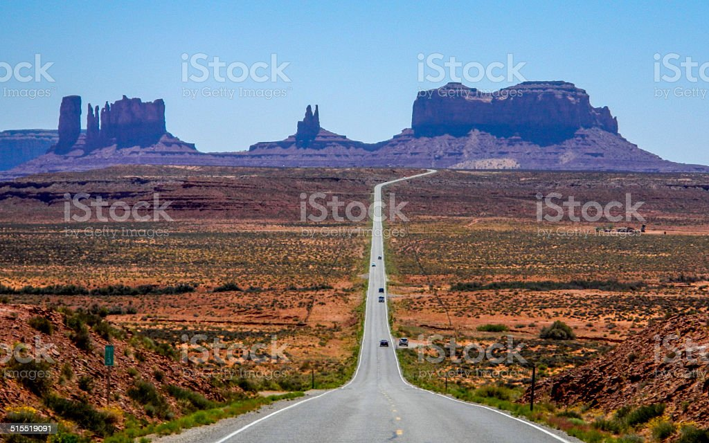 Curving Road to Monument Valley stock photo