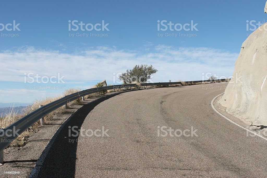 Curving road toward Kitt Peak National Observatory near Tucson, Arizona stock photo