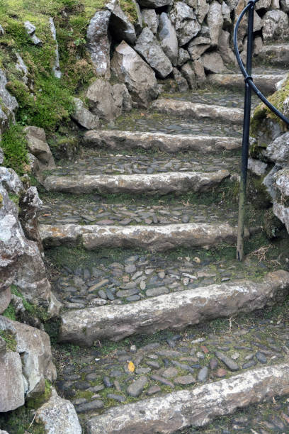 Curving stone staircase. stock photo