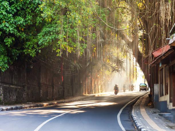 Curving street through Ubud town, Bali, Indonesia stock photo
