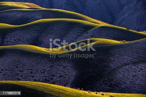 Curvy Mountain grassland scenery in Xinjiang