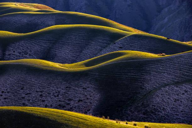 Curvy Mountain grassland scenery in Xinjiang stock photo