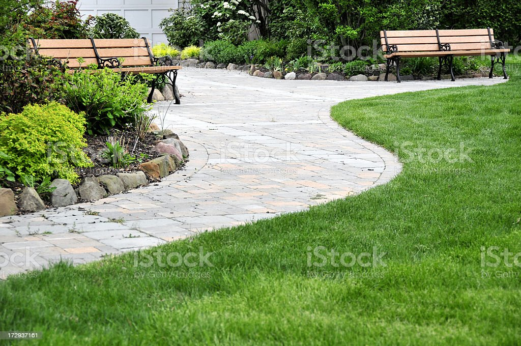 Curvy Pavers and Grass royalty-free stock photo